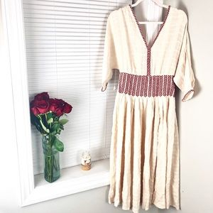 Free People Boho Chic Red And Cream Maxi Dress
